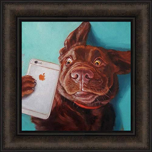 Dog Selfie by Lucia Heffernan 16x16 Chocolate Lab Labrador Retriever Apple Cell Phone Humorous Framed Art Print Wall Décor Picture ()