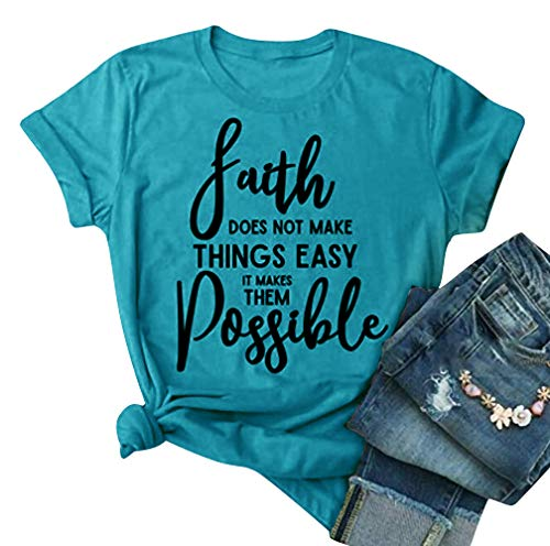 MYHALF Letter Printed T Shirt for Women and Ladies, Cute Faith Doesn't Make Things Easy It Makes Them Possible T Shirt Tops Blue (Countries With The Letter X In Them)