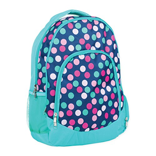 Teal Navy Party Polka Dot Reinforced and Water Resistant Padded Laptop School Backpack