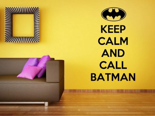 (Keep Calm And Call Batman - Funny Wall Sticker (Large: 60cm x 100cm / 24