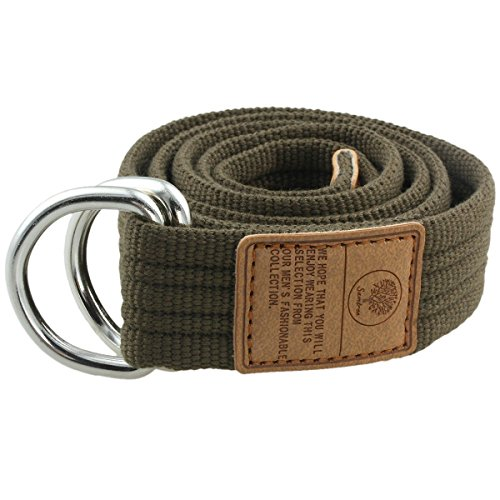 Moonsix Canvas Web Belts for Men, Military Style D-ring Buckle Men's Belt, Army Green