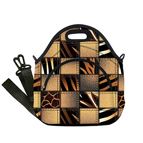 Insulated Lunch Bag,Neoprene Lunch Tote Bags,Safari Decor,Jeans Denim Patchwork in Safari Style Wilderness Stylish Fashionable Design Art,Brown Black,for Adults and children ()