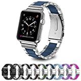 Greeninsync Bands Apple Watch 42mm, Special Edition Stainless Steel Wristbands Metal Buckle Clasp Watch Strap Replacement Bracelet with Silicone Cover Navy for Apple Watch Series 3/2/1 2017