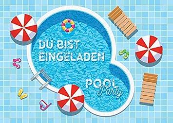 8 Einladungskarten Zum Kindergeburtstag Schwimmbad Party / Pool Party /  Schöne Und Bunte Einladungen (8
