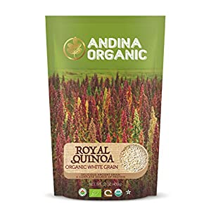 Andina Organic Premium Bolivian Organic Royal White Quinoa | 100% Gluten Free Non GMO Puffed Quinoa | Pre washed / rinsed | Superfood Ancient Grain | Convenient