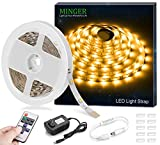 MINGER 16.4ft 12V LED Flexible Strip Light, Non-Waterproof LED Tape Lights with RF Controller & Power Supply for DIY Christmas Holiday Indoor Party Home Kitchen Car Bar Decoration, Warm White