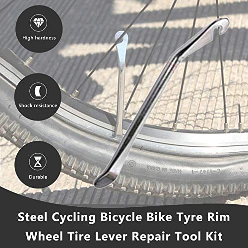 ClookYuan Kit de Herramientas de reparaci/ón de palancas de neum/áticos para Llantas de Bicicleta de Bicicleta de Acero Plata
