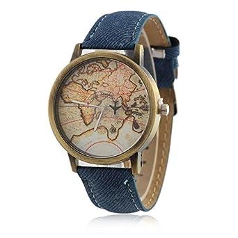 Buy shocknshop mini world map unisex stylish denim casual wrist buy shocknshop mini world map unisex stylish denim casual wrist watch blue online at low prices in india amazon gumiabroncs Choice Image