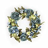 FAVOWREATH Vintage Series FAVO-W38 Handmade 14 inch Blue Peony,Daisy,Wild Flower Dry Branch Wreath For Summer/Fall Season Festival Celebration Front Door/Wall/Fireplace Floral Craft Hanger Home Decor