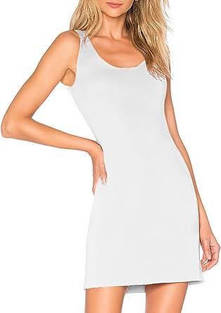 Vestido Mini de Fluido Punto Elástico Mujer Camiseta Lisa Tirantes ...