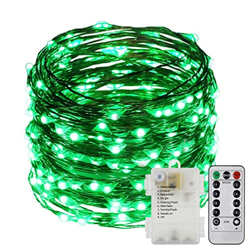 ER CHEN 8 Lighting Model Indoor and Outdoor Waterproof Battery Operated 200 LED String Lights on 66 Ft Long Ultra Thin Copper String Wire with 13 Key Remote Control(Green) ()