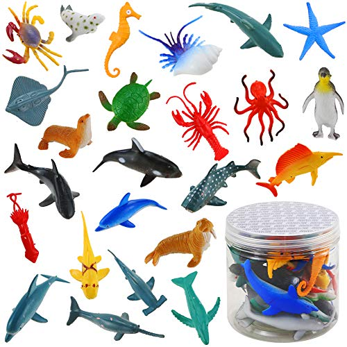 Bignc 24 Pack Mini Ocean Sea Animal Model Toys Under The Sea Life Figure Bath Toy for Child (Shark, Blue Whale, Starfish, Crab, Etc.)