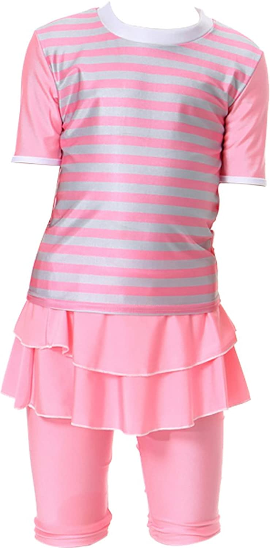 Ababalaya Muslim Islamic Girls SPF UPF 50+ UV Rash Guard 2pcs Ruffle Hem Stripe Swimsuit