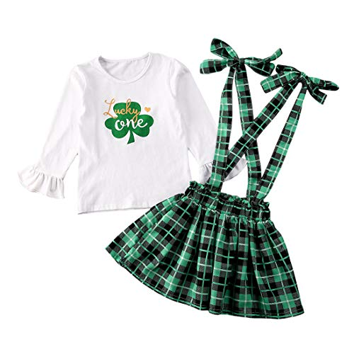 St. Patrick's Day Outfit Toddler Baby Girl Shamrocks T-Shirt Tops Suspender Skirts Overall Clothes Set