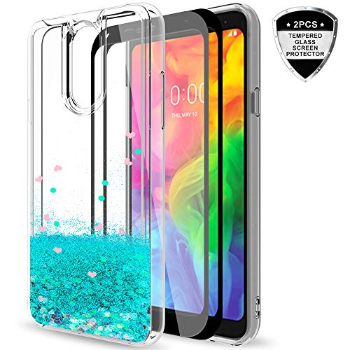 LG Q7 Case,LG Q7 Plus Case with Tempered Glass Screen Protector [2 Pack] for Girls Women,LeYi Glitter Shiny Bling Quicksand Clear TPU Protective Phone Case for LG Q7+ / LG Q7 Alpha ZX - Turquoise