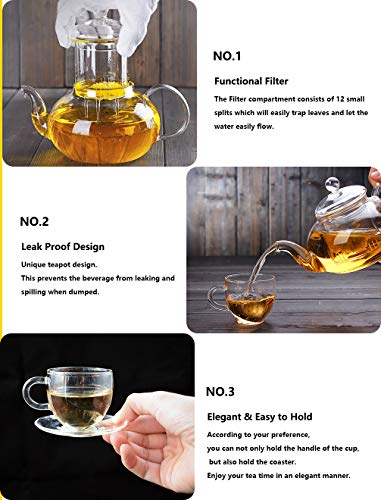 Clear Glass Teapot Set with Infuser 4 glass Tea Cups 4 Glass Saucers 1 Heart Shape Crystal Glass Warmer Base,Glass Tea Maker Teapot with Filtering, Blooming Loose Leaf tea pot by Tortoise IT (Image #5)