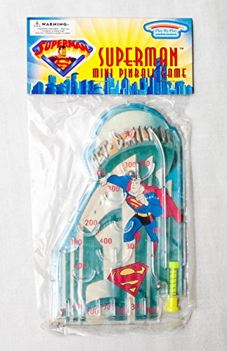 Vintage 1997 Superman and the Daily Planet Mini Pinball Game (Great for Stocking Stuffers, Party Favors, Gift Basket, Travel, and More)