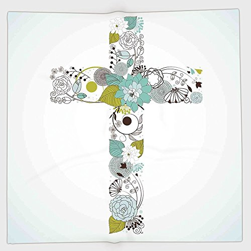Cotton Microfiber Hand Towel,Baptism,Cross Made from Flowers Blessing Blossom newborn Catholic Party Illustration,Seafoam Avocado Green,for Kids, Teens, and Adults,One Side Printing by iPrint
