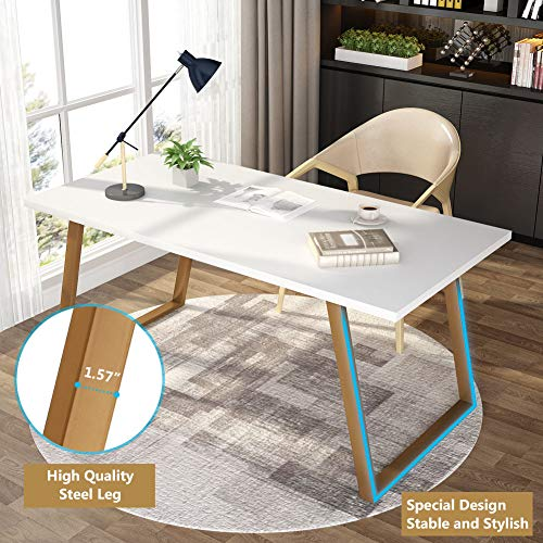 Tribesigns 55'' White Writing Desk, Minimalist Computer Desk with Slanted Gold Metal Frame, Simple Style Study Laptop Table for Home Office (White+Glod) by Tribesigns (Image #4)