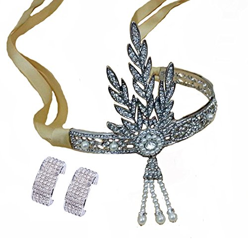 Santfe Silver-tone The Great Gatsby Tiara Pearl Crown Bri...