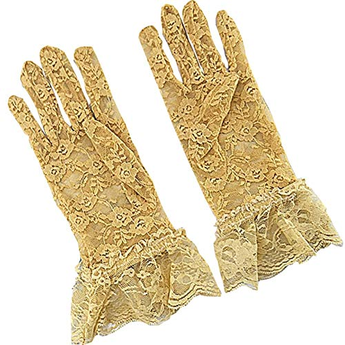 New Chinese Spring and Summer Short Women's Gloves Sexy Lace Thin Sunscreen All-Finger Gloves Women's Driving Party Anti-UV Skid-Proof Ice Wire Split-Finger Gloves (Color : Yellow) ()