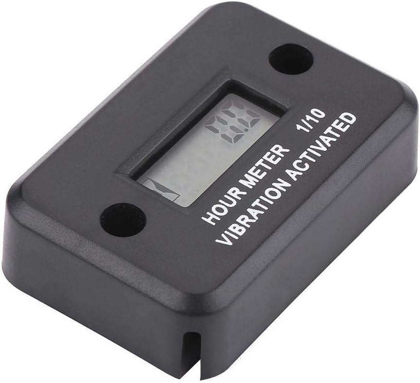 Black Digital Inductive Hour Meter Black Waterproof Vibration Hour Meter Gauge Timer Wireless for Motorcycle ATV Gasoline Vibrating