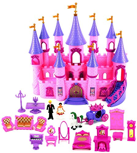 VT My Dream Castle 'Princess Wedding' Toy Doll Playset w/ Prince and Princess Figures, Horse Carriage, Castle Play House, Furniture, (Disney Horse And Carriage)
