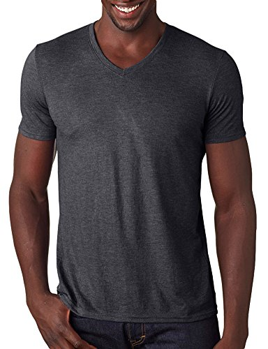 Anvil Adult Tri-Blend V-Neck T-Shirt, Hthr Dark Grey, Medium