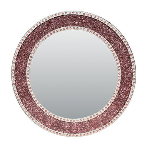 24 Inch Rose Gold Framed Wall Mirror, Round Crackled Glass Mosaic Decorative Wall Mirror in Blush / Rose Gold Color by DecorShore by DecorShore