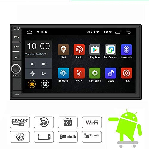 ble Din Car Stereo Radio 7 Inch Touch Screen in Dash GPS Navigation Support WiFi Bluetooth Mirror Link SWC OBD with Free Backup Camera ()