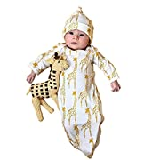Sharemen Newborn Baby Girls Boys Long Sleeve Gown+Hat Jumpsuit Outfits (0-6 Months, White)
