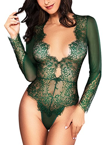 LOVEYOUSEXY Women Sexy Lingerie Long Sleeve Bodysuit Sexy Lace Deep V Bodysuit Lingerie Sheer Teddy Lingerie (Green, XL) Bodysuit Teddy Sexy Lingerie
