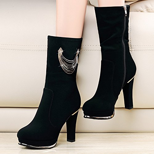 KHSKX-Ladies Boots With Thick Cotton Ladies Boots High-Heeled Boots Waterproof Warm Winter Boots In The Round. Thirty-six