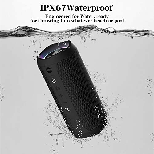 WSHDZ Portable 20w Waterproof Wireless Stereo Bluetooth Speakers J20 with Enhanced Bass Sound,Party Light,IPX67,HD Sound,Long Battery Life Support Hands-Free Call for Outdoor Indoor Activities-Black 51BDg5jsbvL