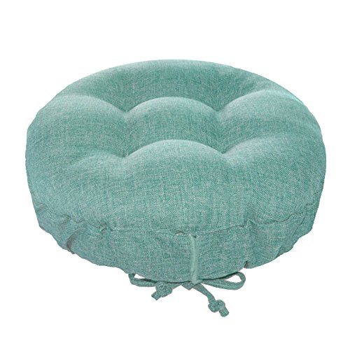 "Padded Round Bar Stool Cover - Hayden Turqoise - Latex Foam Fill Barstool Cushion with Adjustable Drawstring Yoke - Made in USA (Solid Color) (Aqua, Standard) fits most 12"" - 14"" Wooden Stools"