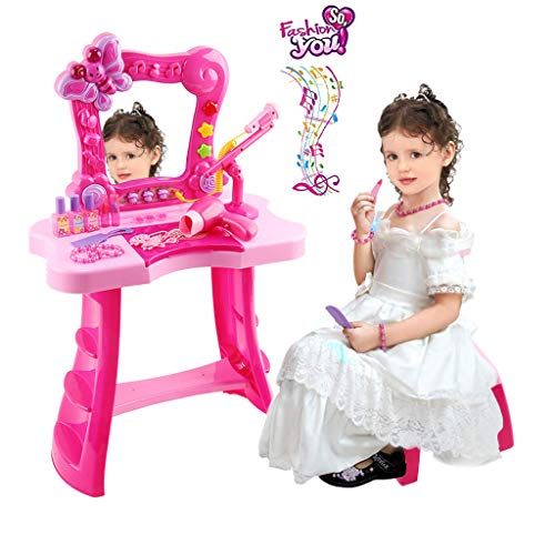 Toddler Fantasy Vanity Beauty Dresser Table Play Set with Fashion & Makeup Accessories for Kid and Pretend Play, Toy for 2,3,4 Years Kids (Free, pink1) from Koolee