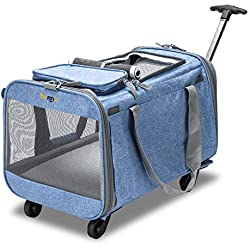 """Bonnlo Cat Puppy Pet Wheels Rolling Carrier Stroller - 20""""x12""""x12"""" Soft Sided Pet Travel Carrier with BPA Free Travel Bowl, Removable Wheels & Durable Mesh Panels & Detachable Fleece Bed"""