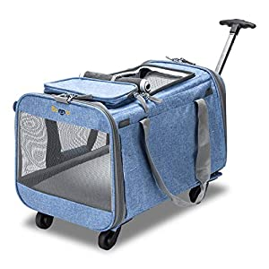 Bonnlo Cat Puppy Pet Wheels Rolling Carrier Stroller – 20″x12″x12″ Soft Sided Pet Travel Carrier with BPA Free Travel Bowl, Removable Wheels & Durable Mesh Panels & Detachable Fleece Bed