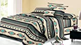Rustic Western Southwest Native American Design 4 Piece Sheet Set Navajo Print Multicolor Ivory Turquoise Blue black and Grey 17426 King Brown/Turquoise Sheet Set