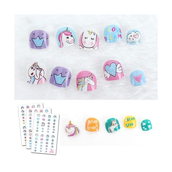 Le Fu Li 19 sheets Kids Self Adhesive Unicorn Nail Art Stickers Decals Manicure Decoration for Little Girls for… 9