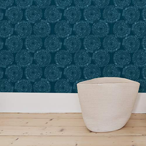 Painted Blue Teal Circles Pre-Pasted Wallpaper - Safe for Walls - Easy to Apply & Extremely Easy to Remove