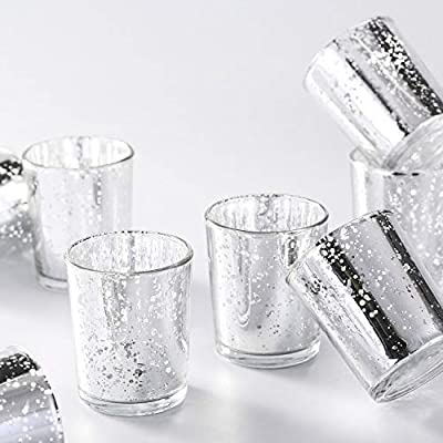 Supreme Lights Mercury Votive Candle Holders, Speckled Glass Tealight Holder, 2.45-inch Tall(Set of 12)