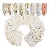 30Sheets Gold Silver Nail Art Water Transfer Decals Metallic Nail Stickers Butterfly Lace Flower Dream Catcher Feather Nail Decorations