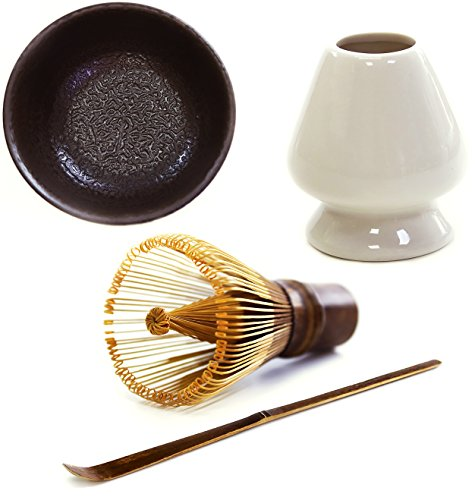 Mocha ChaDao MATCHA Traditional Tea Set | Purple Bamboo Whisk and Scoop | Holder | Matcha Bowl | Gift Box | Best Authentic Accessories For Japanese Matcha Green Tea Ceremony ()