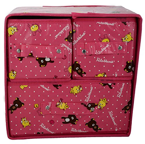 Ruby Folable Storage Box with 3 Drawers in Pink color