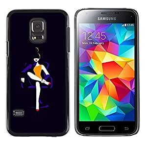 LECELL--Funda protectora / Cubierta / Piel For Samsung Galaxy S5 Mini, SM-G800, NOT S5 REGULAR! -- Lady Black Fashion Minimalist --