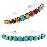 925 Sterling Silver Bracelet with Genuine Turquoise and Semiprecious Gemstones