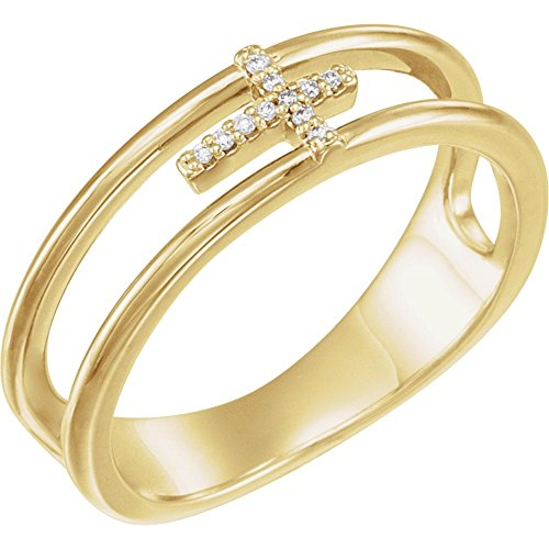 14K Yellow .03 CTW Diamond Negative Space Cross Ring (Negative Space Cross)