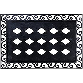 Evergreen Flag Black Cutout Scroll Rubber Welcome Mat Tray Base   36u201dL X 24