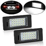 Partsam 2pcs 6000K White 18-SMD 12V Error Free LED License Plate Light Lamps Set For BMW E39 E60 E90 E92 E93 E46 1 3 5 X Series